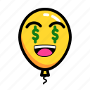 baloon, dollar, emoticon, want icon