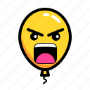 angry, baloon, emoticon, yelling icon