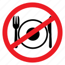 ban, cutlery, eat, eating, fasting, no, sign icon