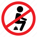 anywhere, ban, defecate, no, notice, poop, sign icon