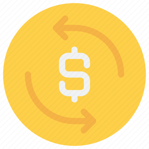 arrow, coin, exchange, finance, money icon