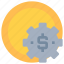 coin, gear, making, management, money icon