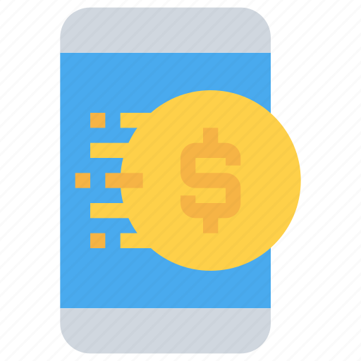 banking, coin, mobile, payment, smartphone icon