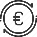 banking, coin, euro, money, recycle, refresh, sync icon