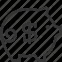 banking, dollar, money, pig icon