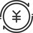 banking, coin, generate, japanese, money, produce, refresh, yen icon