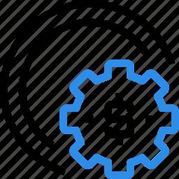 bank, finance, gear, making, management, money, process icon