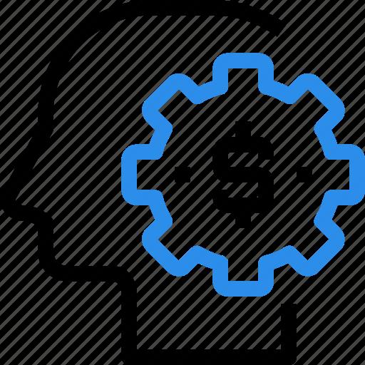 gear, head, making, management, mind, money, process icon