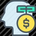 bank, banking, finance, idea, investment, mind, money icon