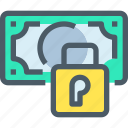 bank, banking, finance, financial, padlock, secure icon
