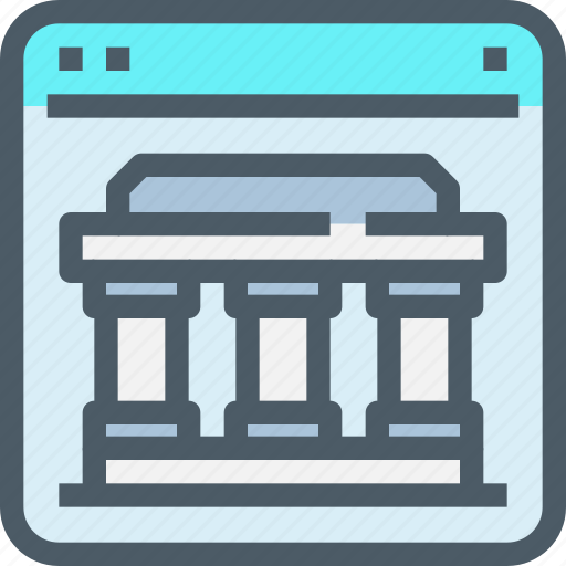 bank, banking, building, business, finance, online icon