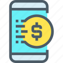 bank, banking, coin, finance, mobile, payment, smartphone icon
