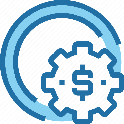 bank, banking, coin, gear, making, money, process icon