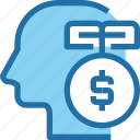 bank, banking, human, idea, investment, mind, money icon