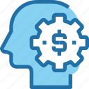 bank, banking, gear, human, making, mind, money icon