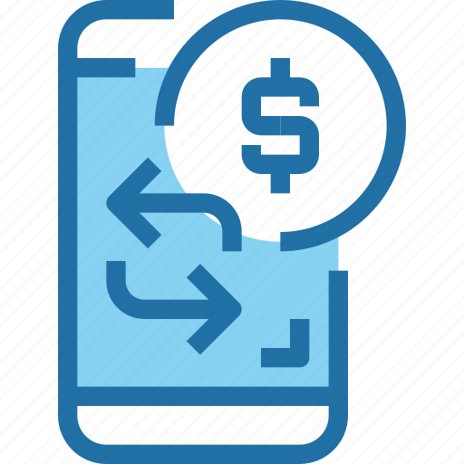 arrow, bank, banking, coin, mobile, money, payment icon