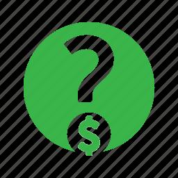 banking, faq, finance, money, question icon