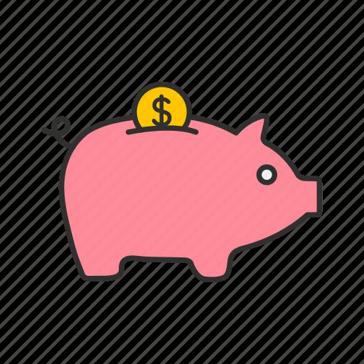 bank, coin bank, coin in piggy bank, piggy bank icon