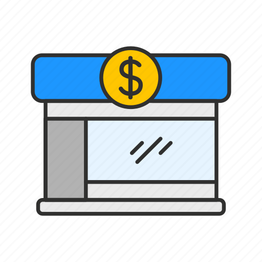 bank, bank building, business, small bank icon