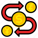 currency, exchange, finance, investment, money, stock, trade icon