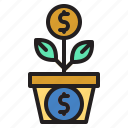 business, growth, knowledge, plant, up icon