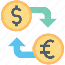 banking, currency, dollar, euro, exchange, finance, money icon