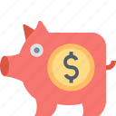 bank, banking, dollar, finance, money, piggy icon