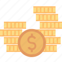 banking, cash, coins, dollar, finance, money, stack icon