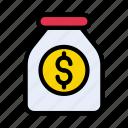 currency, dollar, jar, money, saving