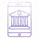 bank, banking, building, device, mobile, smartphone icon