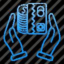 banking, card, finance, hands, money, saving icon