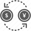 business, coin, dollar, exchange, money, travel, yen icon