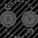 business, coin, dollar, exchange, money, travel, yen icon