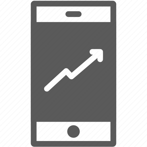 arrow, business, finance, mobile banking, rise, smart phone, stock icon