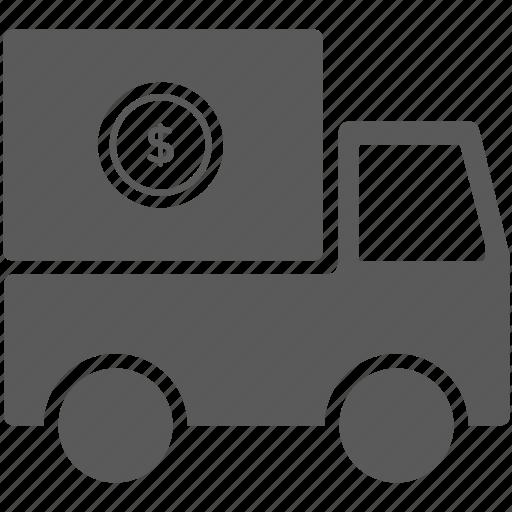 dollar, money, transportation, truck icon