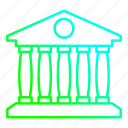 bank, banking, building, front icon