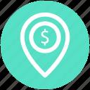 dollar, gps, location, location marker, location pin, location pointer, navigation icon