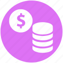 banking, business, coins, currency, dollar, finance, marketing icon