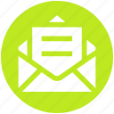 envelope, letter, mail, message, open letter, open message
