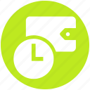 clock, earning, money, saving, scheduled payment, time, wallet icon