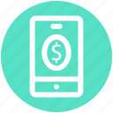 dollar, mobile, mobile money, mobile payment, money, phone icon