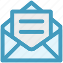 envelope, letter, mail, message, open letter, open message icon