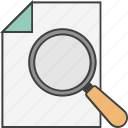 file scanning, magnifier, page, search file, search page icon