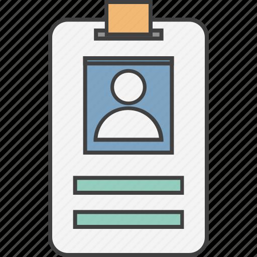 employee card, id, identification, identity card, volunteer card icon