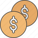 cash, currency coins, dollar, dollar coins, money icon