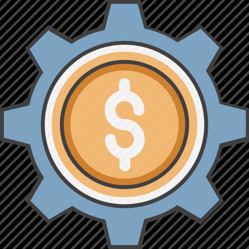 banking, cog, configuration, dollar, investment plan icon