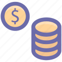 bank, banking, business, coins, currency, dollar, finance icon