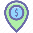 dollar, dollar navigation, location, location marker, location pin, location pointer, navigation icon