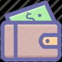 dollar, money wallet, open violet, violet, wallet icon