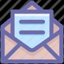 envelope, letter, mail, message, open letter icon